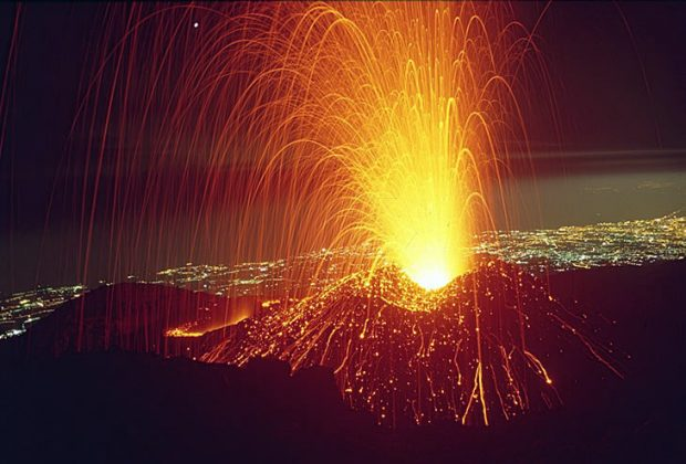 Eruptions Mount Etna Volcano in Sicily